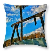 Bench On The River Throw Pillow