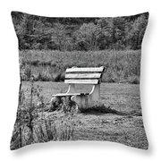 Bench Park Black White  Throw Pillow