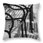 Bench Shadows Throw Pillow