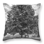 Bench Under A Tree Throw Pillow