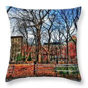 Bench View In Washington Square Park Throw Pillow