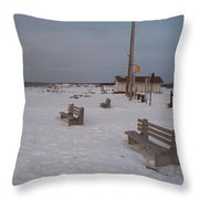 Benches At Sunset Beach Nj Throw Pillow