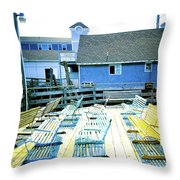 Benches On Boothbay Throw Pillow
