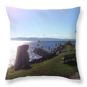 Benches Water Sun And Boat Throw Pillow