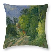 Bend In The Road Through The Forest Throw Pillow