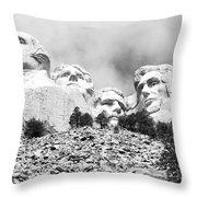 Beneath Mount Rushmore National Monument South Dakota Black And White Throw Pillow