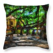 Beneath The Banyan Tree Throw Pillow