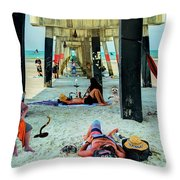 Beneath The Jacksonville Beach Pier  Throw Pillow