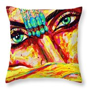 Exotic Desert Eyes Painting, Beneath The Niqab Throw Pillow