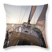 Beneteau 49 Sailing Yacht Close Hauled Charleston Sunset Sailboat Throw Pillow