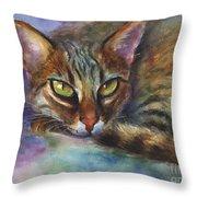 Bengal Cat Watercolor Art Painting Throw Pillow