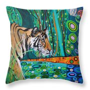 Bengal Tiger And Dragonfly Throw Pillow