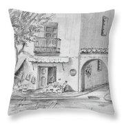 Benidorm Spain Store Front Throw Pillow