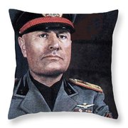 Benito Mussolini Color Portrait Circa 1935 Throw Pillow