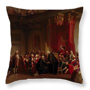 Benjamin Franklin Appearing Before The Privy Council  Throw Pillow by Christian Schussele