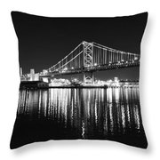 Benjamin Franklin Bridge - Black And White At Night Throw Pillow