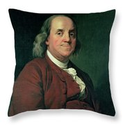 Benjamin Franklin Throw Pillow by Joseph Wright of Derby