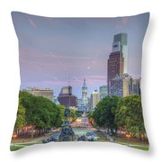 Benjamin Franklin Parkway City Hall Throw Pillow
