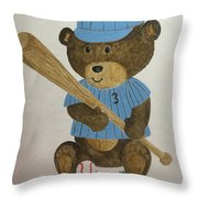 Benny Bear Baseball Throw Pillow
