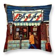 Bens Barbershop Throw Pillow