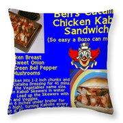 Ben's Catalina Chicken Kabob Sandwich Recipe Throw Pillow