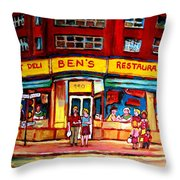 Ben's Delicatessen - Montreal Memories - Montreal Landmarks - Montreal City Scene - Paintings  Throw Pillow