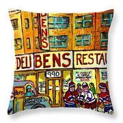 Ben's Famous Smoked Meat Montreal Memories Canadian Paintings Hockey Scenes And Landmarks  C Spandau Throw Pillow