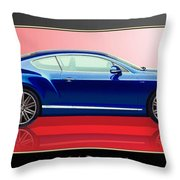 Bentley Continental Gt With 3d Badge Throw Pillow