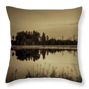 Bentley Pond Pines In Sepia Throw Pillow