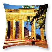 Berlin - Brandenburg Gate At Night Throw Pillow