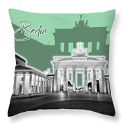 Berlin Brandenburg Gate - Graphic Art - Green Throw Pillow