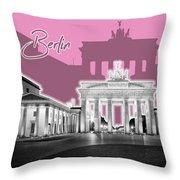 Berlin Brandenburg Gate - Graphic Art - Pink Throw Pillow