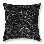 Berlin Germany Dark Map Throw Pillow