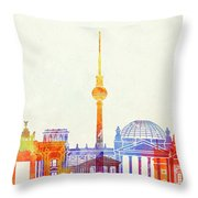 Berlin Landmarks Watercolor Poster Throw Pillow