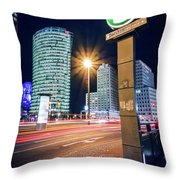 Berlin - Potsdamer Platz Square At Night Throw Pillow