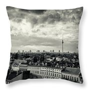 Berlin Skyline And Roofscape -black And White Throw Pillow