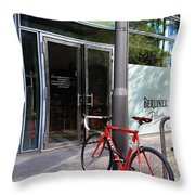 Berlin Street View With Red Bike Throw Pillow