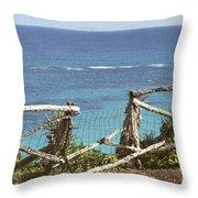Bermuda Fence And Ocean Overlook Throw Pillow