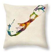 Bermuda Watercolor Map Throw Pillow
