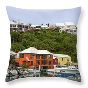 Bermuda Waterside Scene Throw Pillow