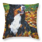Bernese Mountain Dog Autumn Leaves Throw Pillow