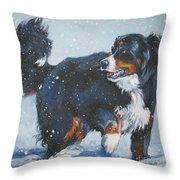 Bernese Mountain Dog In Drift Throw Pillow
