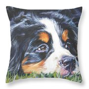 Bernese Mountain Dog In Grass Throw Pillow