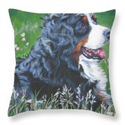 Bernese Mountain Dog In Wildflowers Throw Pillow