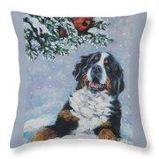 Bernese Mountain Dog With Cardinal Throw Pillow