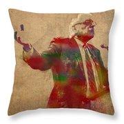 Bernie Sanders Watercolor Portrait Throw Pillow