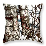 Berries And Birches Throw Pillow