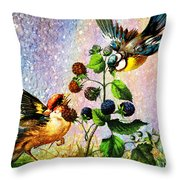 Berries And Birds Throw Pillow