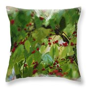 Berries And Leaves 51 Throw Pillow