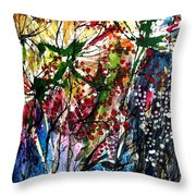 Berries Over Flowers Throw Pillow